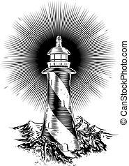Original wood block or wood cut style lighthouse illustration