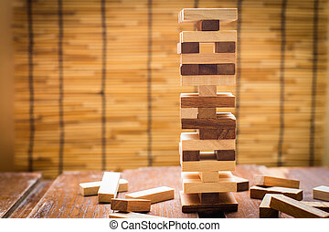 Wood block tower game for children.