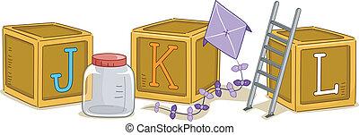 Wood Blocks JKL - Illustration of Wood Blocks with the...