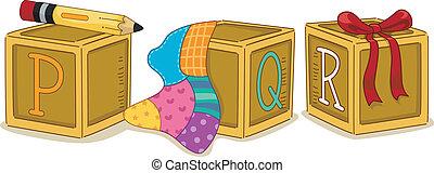 Wood Blocks PQR - Illustration of Wood Blocks with the...