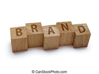 wood blocks with brand word on white background