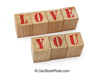 wood blocks with love you text