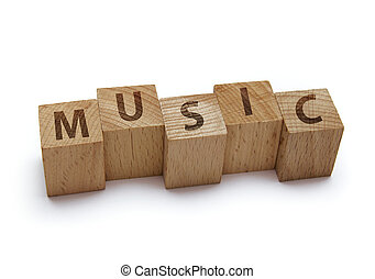 wood blocks with music word on white background
