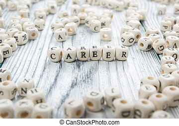 Wood Blocks with the word Career. Wooden ABC