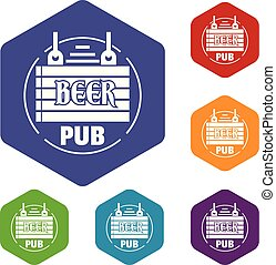 Wood board beer pub icons vector hexahedron