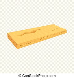 Wood board icon, cartoon style - Wood board icon. Cartoon...