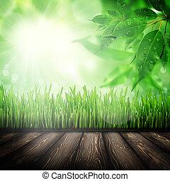 Wood board in the grass field