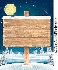 wood board sigh on night christmas winter lake