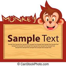 Wood board with monkey