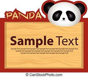 Wood board with panda
