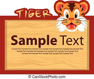 Wood board with tiger