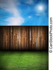wood boards fence in the backyard