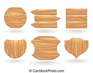 Wood boards of different shapes