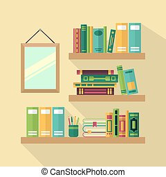 Wood bookshelf in library with different books. Vector illustrations