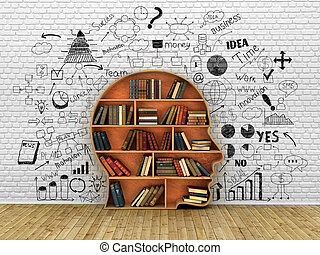 Wood Bookshelf in the Shape of Human Head and books near break wall with drawings, Knowledge Concept