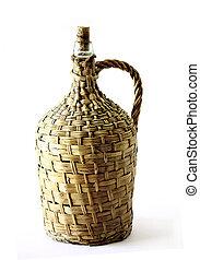 Wood Bottle Wine - Vintage and old bamboo wine bottle...