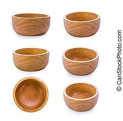 wood bowl on white background