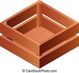 Wood box icon, isometric style