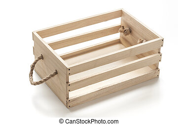 Wood box with rope handles on white background.