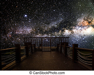 wood bridge dark sky milky way in the night, Elements of this image furnished by NASA