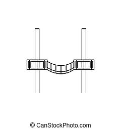 Wood bridge icon, outline style
