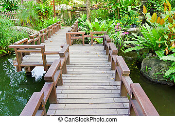 wood bridge in the garden