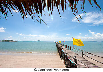 wood bridge in to the sea Thailand