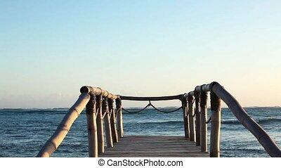 Wood bridge near the ocean