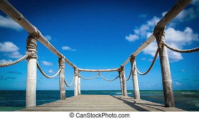 Wood bridge on the beach