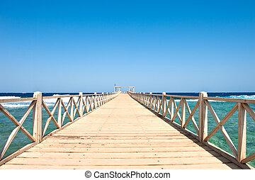 Wood bridge on the sea (Egypt excursion)