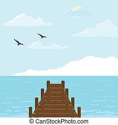 Wood Bridge To The Sea - Wood bridge to the sea vector...
