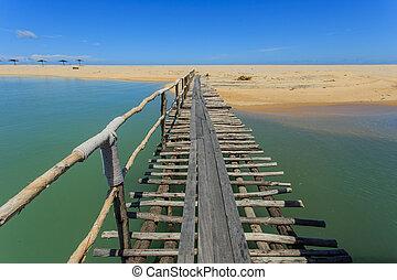 Wood bridge to the sea