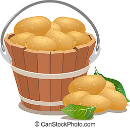 Wood bucket full new potatoes - Wood bucket full new...