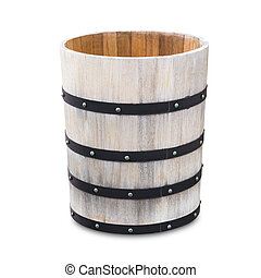 wood bucket isolated with clipping path