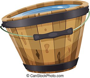 Wood Bucket With Water - Illustration of a cartoon wooden...