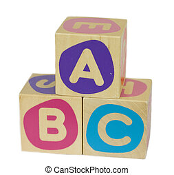 ABC - Wood building blocks, with the letters ABC, isolated...