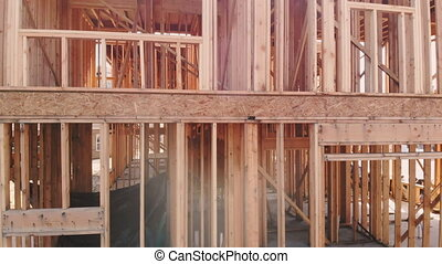 Wood Building frame at Multi-Family Housing Construction -...