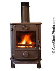 Wood burner - Closeup of a cosy wood burning stove