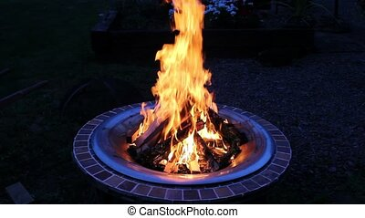 Wood Burning Fire Pit with Flames