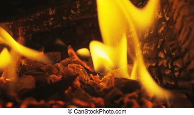 Wood Burning In Fireplace Fire Closeup In Slow Motion - Wood...