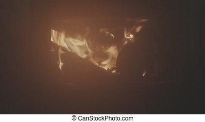 Wood burning in the stove. Fire throught the smoke. - Wood...