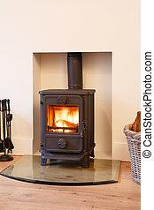 Wood burning stove - Cast iron wood burning stove in a...