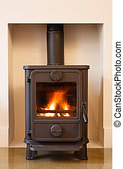 Wood burning stove - Cast iron wood burning stove in a...