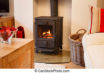 Wood burning stove - Cozy modern interior living room with...