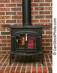 Wood burning stove - Old fashioned wood burning stove on a...