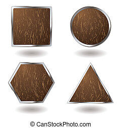 wood button variation - Collection of wood grain button...