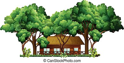 Wood cabin in the forest illustration