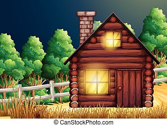 Wood cabin in the woods illustration
