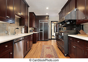 Kitchen with wood cabinets and wood floors
