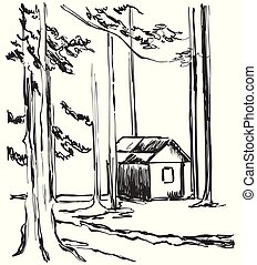 Wood cabins in forest landscape vector illustration